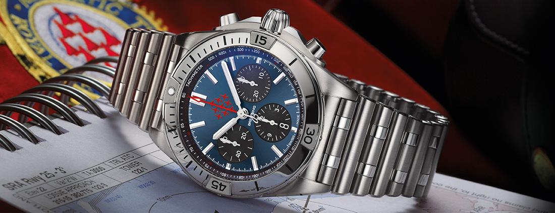 Breitling RAF limited edition watch on its side