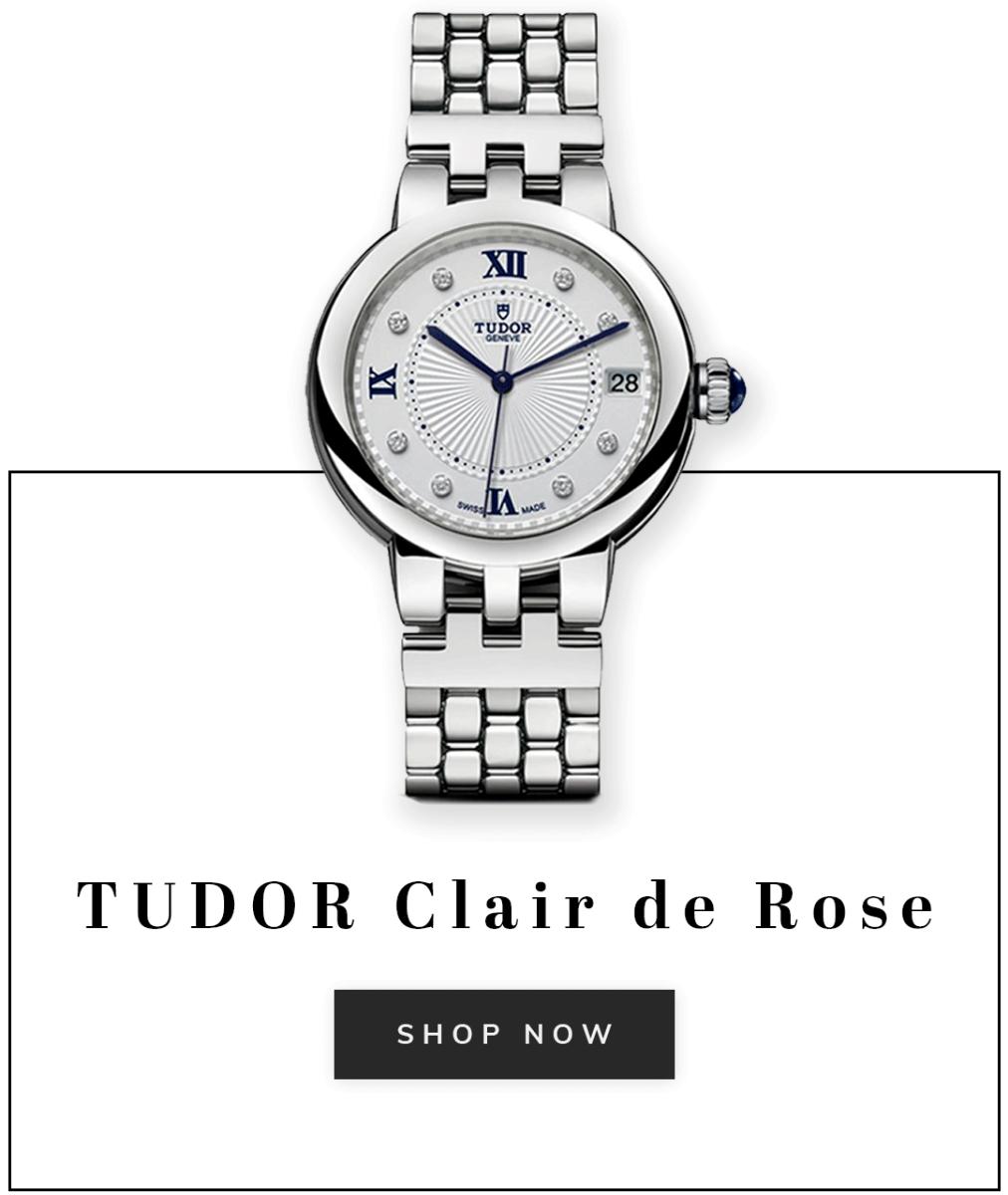 A Tudor Clair de Rose watch with text shop now