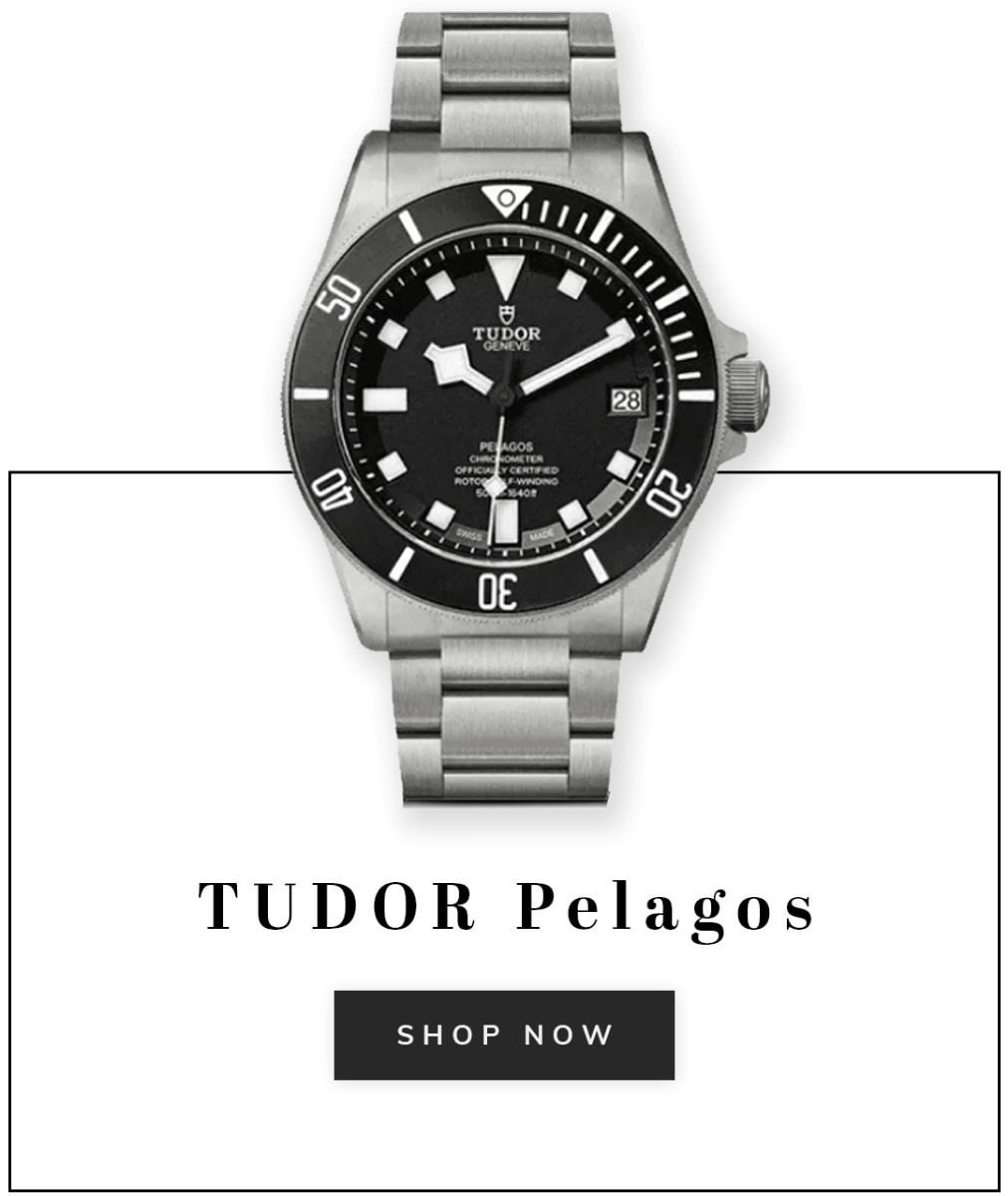 A Tudor Pelagos watch with text shop now