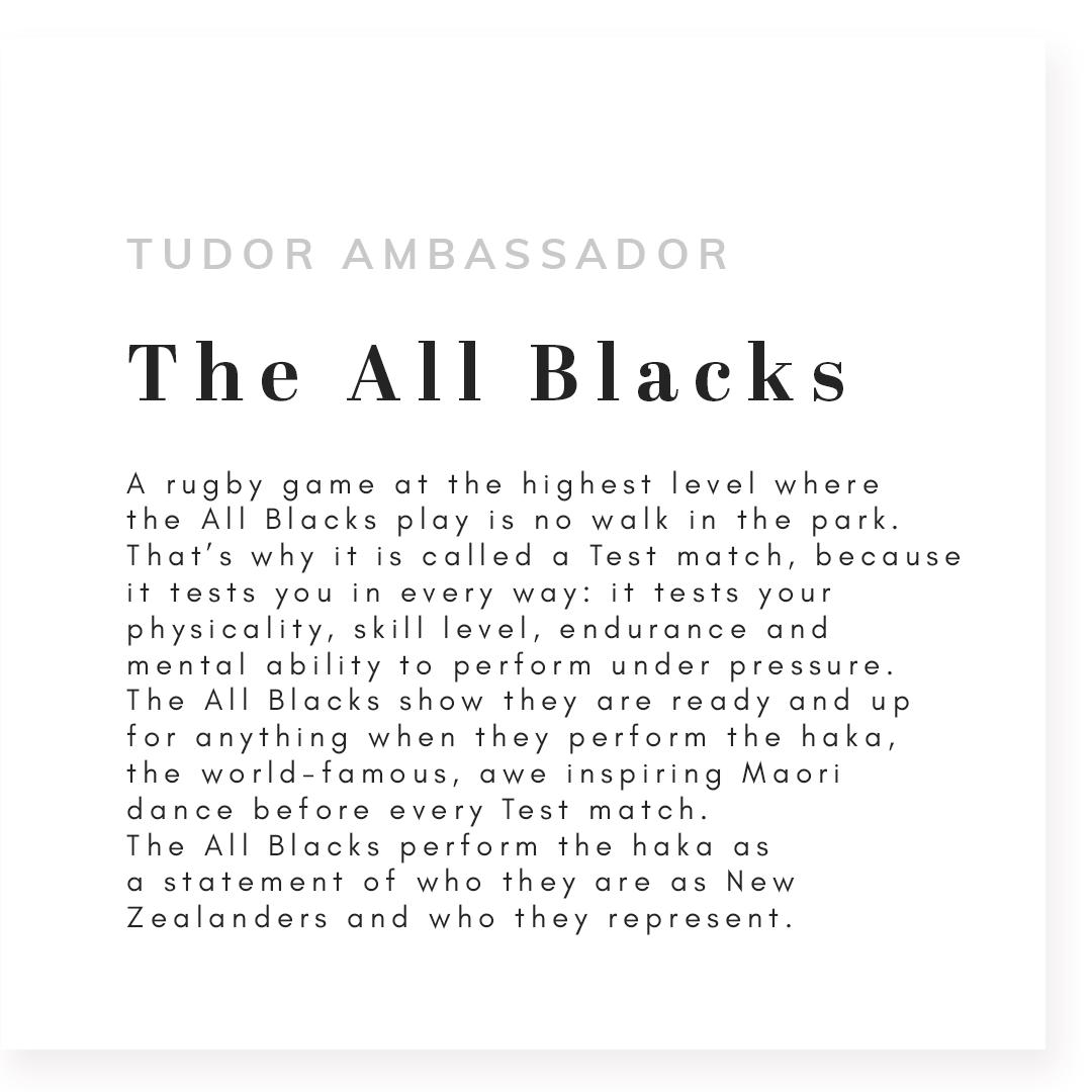 Text that reads tudor ambassador The All Blacks