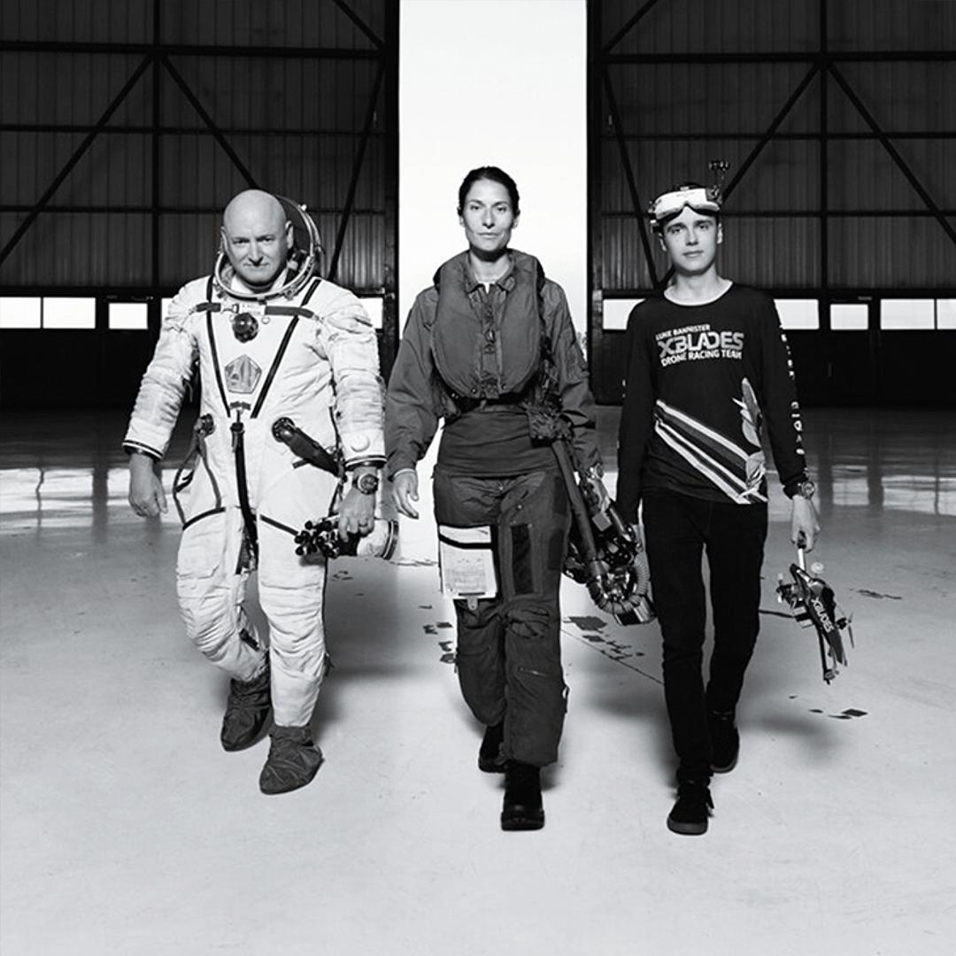 Astronaut Scott Kelly, aircraft pilot Rocio Gonzalez and drone pilot Luke Bannister