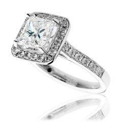 Platinum & Princess-Cut Diamond 3.01CT Bezel Engagement Ring