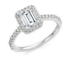 Platinum & Emerald-Cut Diamond 1.01CT Halo Engagement Ring