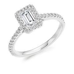 Platinum & Emerald-Cut Diamond 0.70CT Halo Engagement Ring