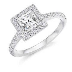 Platinum & Princess-Cut Diamond 1.01CT Halo & Shoulder Engagement Ring