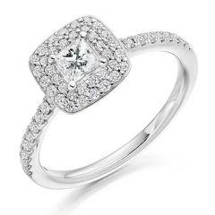 Platinum & Princess-Cut Diamond 0.30CT Shoulder Double Halo Engagement Ring