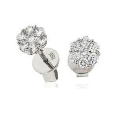 Diamond & 18 ct White-Gold Tight Daisy Stud Earrings