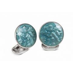 Deakin & Francis Silver & Turquoise Enamel Cufflinks