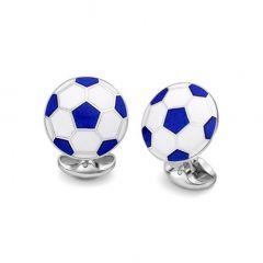 Deakin & Francis Silver White & Blue Football Cufflinks