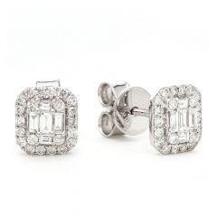 Diamond Emerald-Cut Bezel Stud Earrings in 18 ct White-Gold