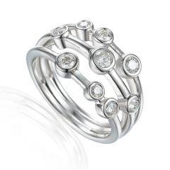 Diamond & 18 CT White-Gold Triple Band Ring