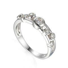 Geometric Diamond & 18 CT White-Gold Ring