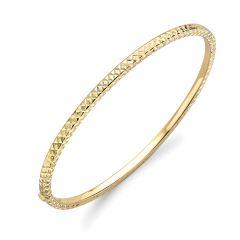 Diamond-Cut 9 CT Yellow-Gold Bangle