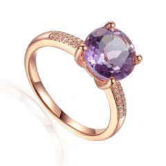 Round Pink Amethyst & Diamond Shoulder 9CT Rose-Gold Ring