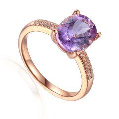 Oval Pink Amethyst & Diamond Shoulder 9CT Rose-Gold Ring