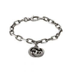Gucci Interlocking G Pendant Sterling Silver Bracelet