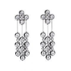 18CT White-Gold & 40 Diamond Drop Earrings