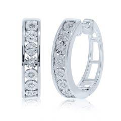 9CT White-Gold Diamond 0.15CT Huggie Hoop Earrings