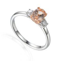Oval Morganite & Diamond 18 CT White-Gold Three Stone Ring
