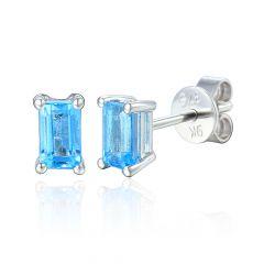 Aquamarine 9CT White-Gold Octagonal-Cut Stud Earrings