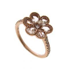 Morganite & Diamond Daisy 18CT Rose-Gold Ring