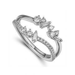 Diamond & Platinum Wave Double Row Ring
