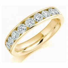 1.00ct Round Brilliant Diamond 18ct Yellow Gold Half Eternity Ring