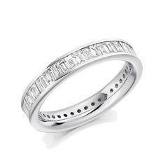 Platinum & 2.00ct Baguette Cut Diamond Full Eternity Ring