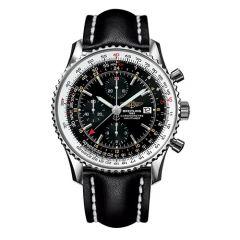 Breitling Mens Navitimer World Black Leather Watch