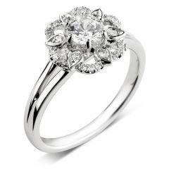 Floral Diamond Engagement Ring in Platinum