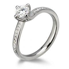 Waltz Diamond Engagement Ring with Diamond Band