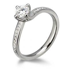 Waltz Diamond Engagement Ring with Diamond Band in Platinum