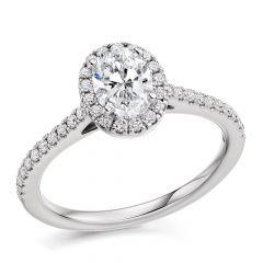 Oval Halo Diamond Engagement Ring with Diamond Band