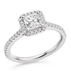 Princess Halo Diamond Engagement Ring with Diamond Band in Platinum
