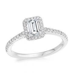 Emerald Halo Diamond Engagement Ring with Diamond Band
