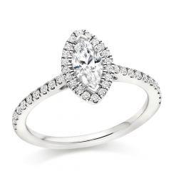 Marquise Halo Diamond Engagement Ring with Diamond Band