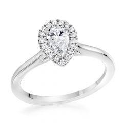 Pear Halo Diamond Engagement Ring in Platinum