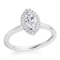 Marquise Halo Diamond Engagement Ring