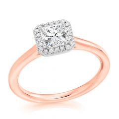 Princess Halo Diamond Engagement Ring in Rose Gold