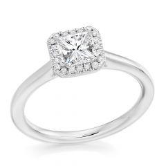 Princess Halo Diamond Engagement Ring in Platinum
