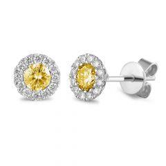 Citrine & Diamond 18CT White-Gold November Birthstone Stud Earrings