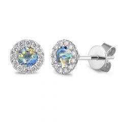 Moonstone & Diamond 18CT White-Gold June Birthstone Stud Earrings