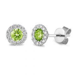 Peridot & Diamond 18CT White-Gold August Birthstone Stud Earrings