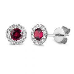 Ruby & Diamond 18CT White-Gold July Birthstone Stud Earrings