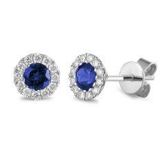 Sapphire & Diamond 18CT White-Gold September Birthstone Stud Earrings