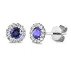 Tanzanite & Diamond 18CT White-Gold December Birthstone Stud Earrings