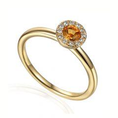 Citrine & Diamond 18CT Yellow-Gold November Birthstone Ring