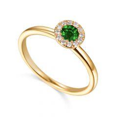 Emerald & Diamond 18CT Yellow-Gold May Birthstone Ring