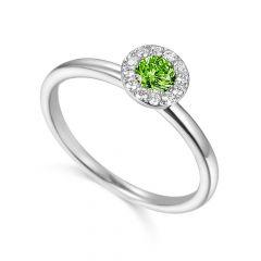 Peridot & Diamond 18CT White-Gold August Birthstone Ring