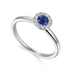 Sapphire & Diamond 18CT White-Gold September Birthstone Ring